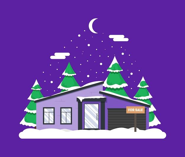 家と森の冬の夜景。クリスマスの装飾 Premiumベクター