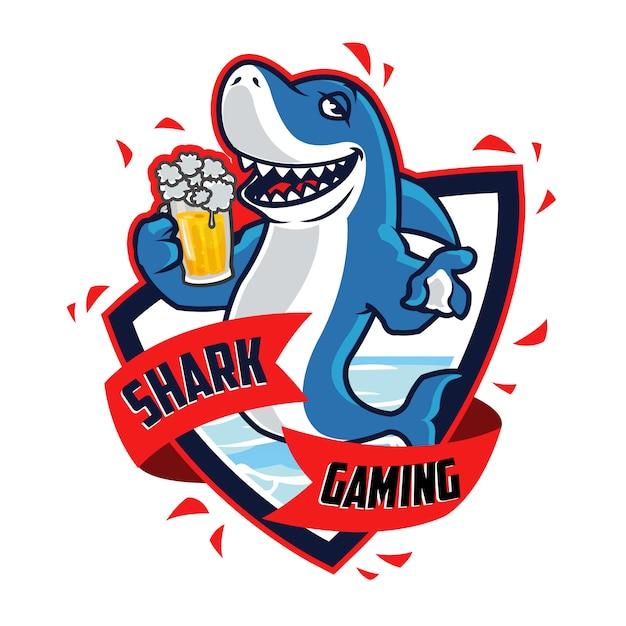 酒に酔ったサメの漫画のマスコット Premiumベクター
