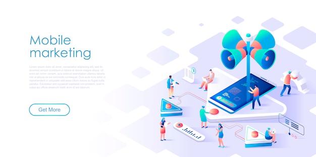 Изометрические целевой страницы мобильного маркетинга или рекламы плоской концепции Premium векторы