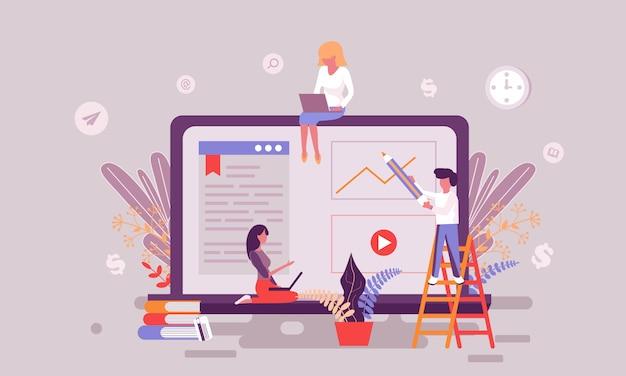 Иллюстрация интернет-образования Premium векторы