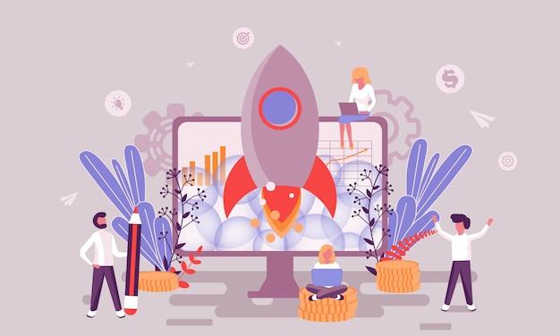 Иллюстрация запуска бизнеса Premium векторы