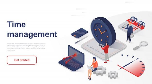 等尺性ランディングページの営業時間管理 Premiumベクター