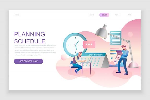 計画スケジュールのフラットランディングページテンプレート Premiumベクター