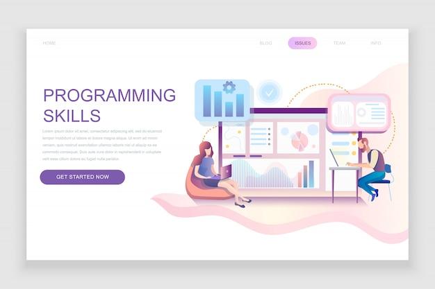Шаблон плоской целевой страницы навыков программирования Premium векторы