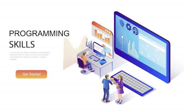 Плоская изометрическая концепция навыков программирования Premium векторы