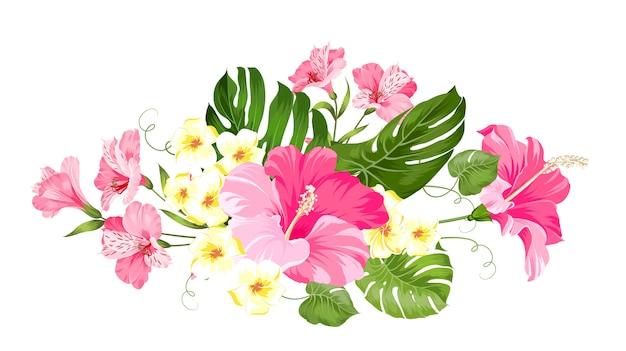 Тропическая цветочная гирлянда для вашей открытки. Premium векторы