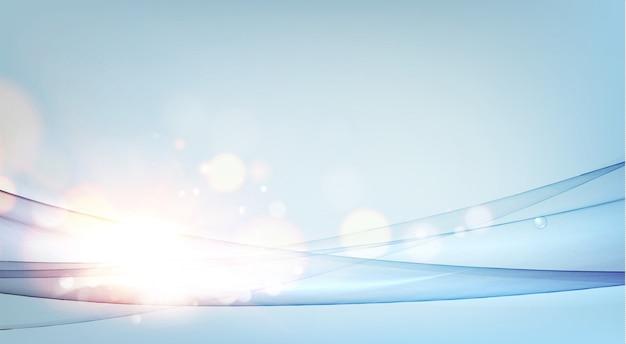 黄金のボケ味を持つ青い背景上の魔法の流れ波と水平カード。 Premiumベクター