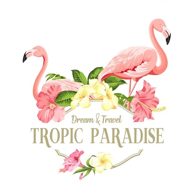 フラミンゴの鳥とプルメリアの花が白い背景で隔離されました。 Premiumベクター