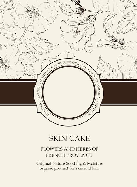 花の要素を持つ植物カバー。 Premiumベクター