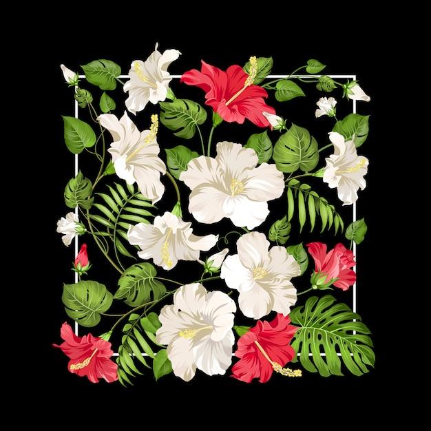黒の長方形フレームに白と赤のハイビスカスの花 Premiumベクター