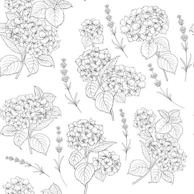 アジサイの花の花のパターン Premiumベクター