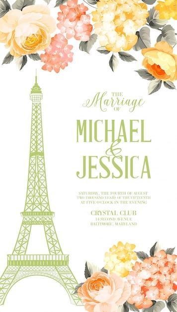 Брачная карточка. шаблон приглашения на свадьбу Premium векторы