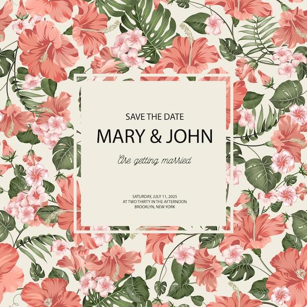 Шаблон приглашения свадебные карточки с тропической плюмерии и пальмовых листьев. Premium векторы