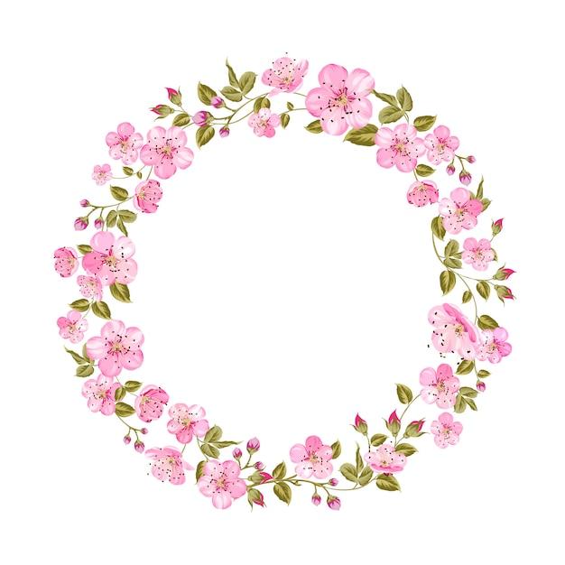 Весенняя открытка с цветами сакуры Premium векторы