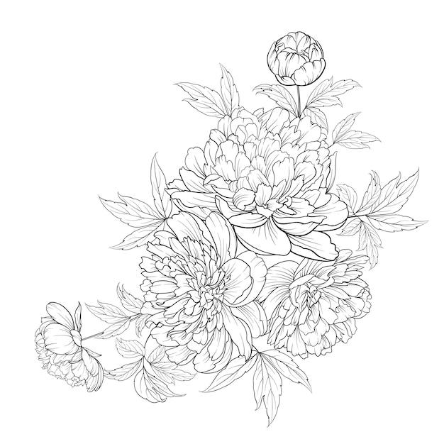 Весенний букет цветов контурной цветочной гирлянды. Premium векторы