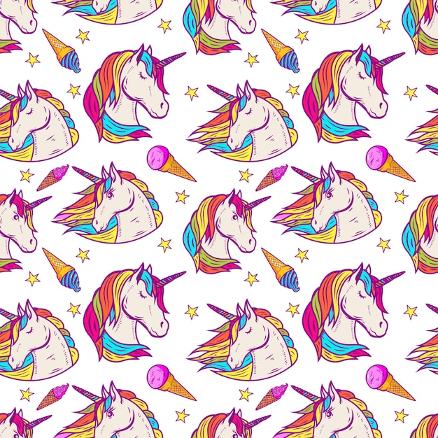 Бесшовный фон с головами единорога, звезды, мороженое. иллюстрация Premium векторы