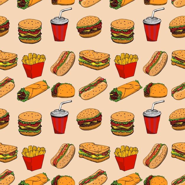 Бесшовные с фаст-фуд. гамбургер, хот-дог, буррито, бутерброд. элемент для плаката, упаковочная бумага. иллюстрация Premium векторы
