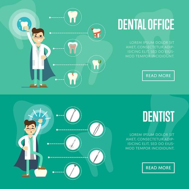 Шаблон горизонтального баннера для стоматологического кабинета Premium векторы