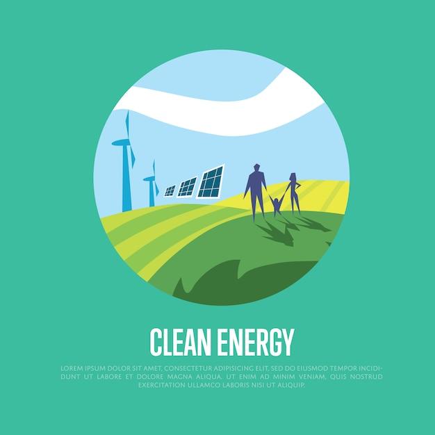 クリーンエネルギー。太陽と風力発電 Premiumベクター