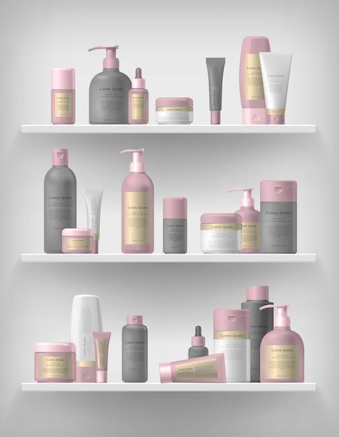 現実的な化粧品ブランドモックアップセット Premiumベクター