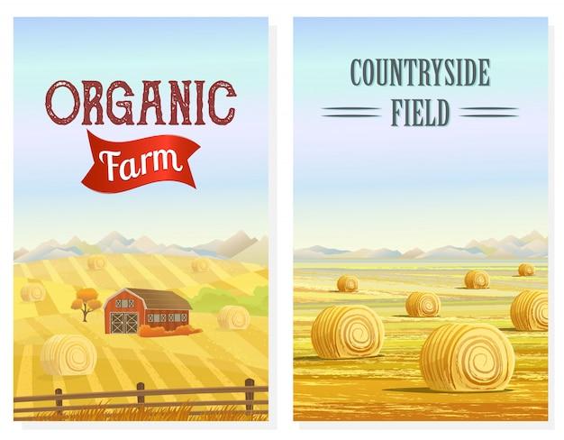 干し草の山のバナーと田舎エリア Premiumベクター