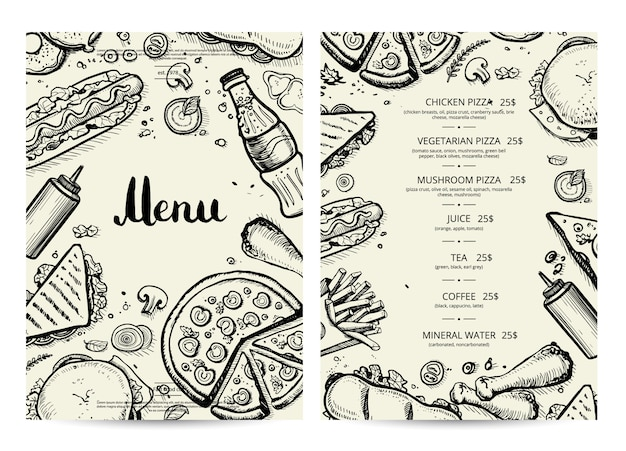 Еда и напитки меню с ценами Premium векторы