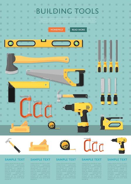 Шаблон сайта строительных инструментов для магазина Premium векторы