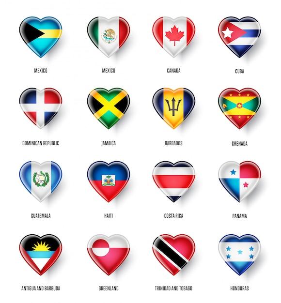 Флаги стран северной америки Premium векторы