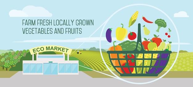 かごの中のスーパーマーケットの天然物 Premiumベクター