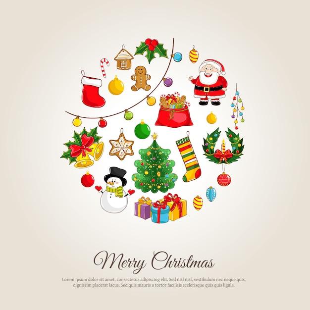 Рождественский баннер с атрибутами зимних праздников Premium векторы