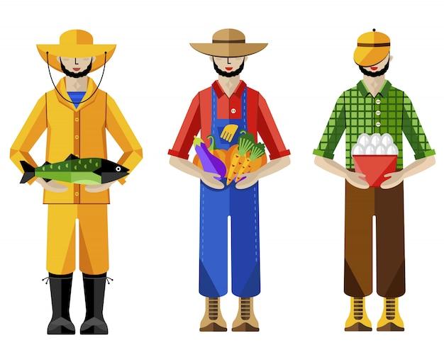 農家と漁師、イラスト Premiumベクター