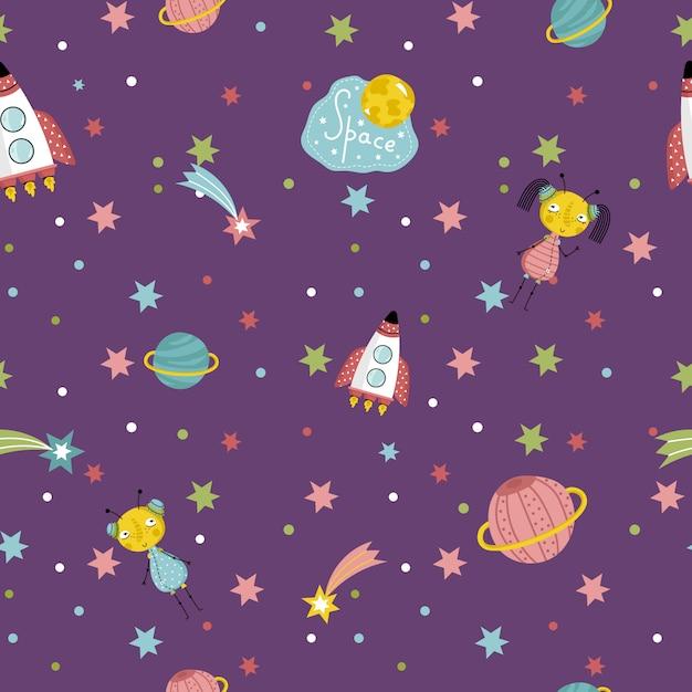 宇宙旅行のシームレスなパターンベクトル漫画 Premiumベクター