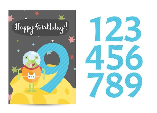 お誕生日おめでとうベクトル漫画グリーティングカード Premiumベクター