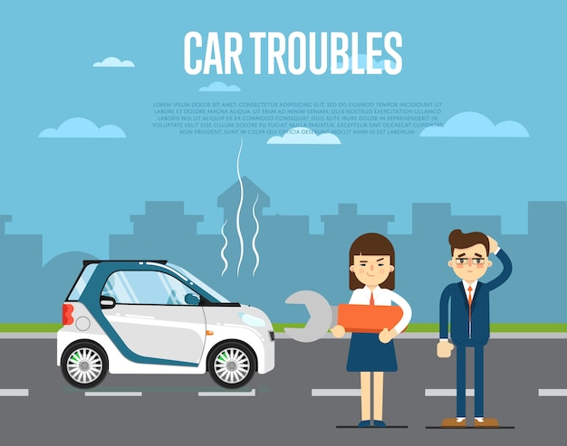 人と車のトラブルコンセプト Premiumベクター