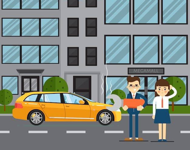 Концепция автомобиля неприятности с людьми Premium векторы