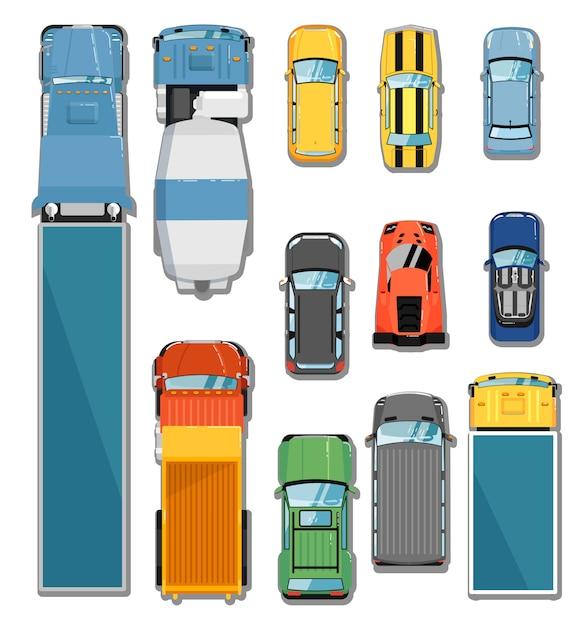 車とトラックのトップビューセット Premiumベクター