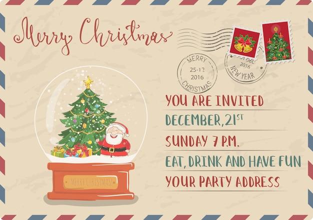 Старинные рождественские приглашения открытка с печатью и штемпелем Premium векторы
