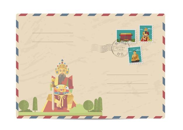 Старинный почтовый конверт с тайваньскими марками Premium векторы