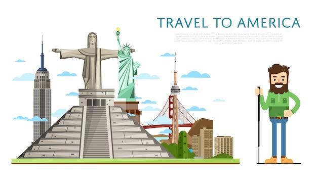 有名なアトラクションを備えたアメリカへの旅 Premiumベクター