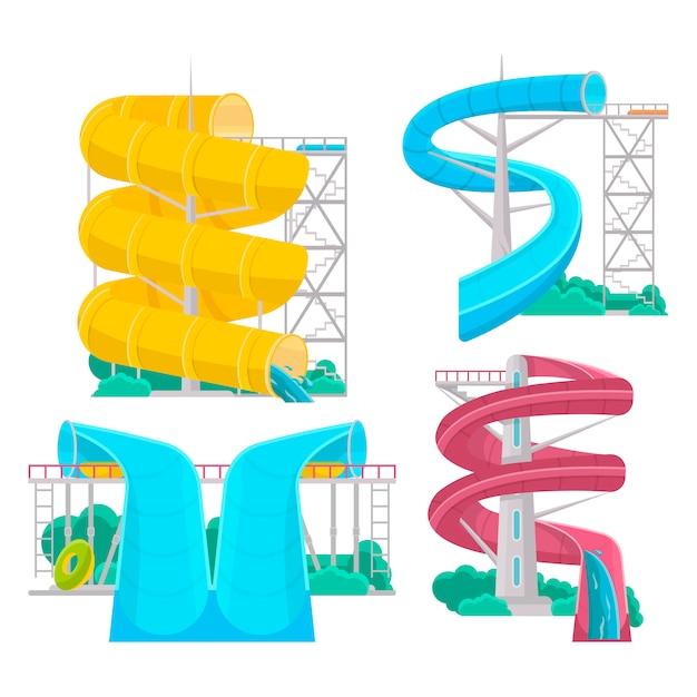 Аквапарк водные горки изолированный набор Premium векторы