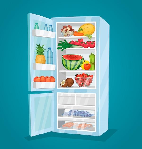 Холодильник, полный еды в плоском стиле Premium векторы