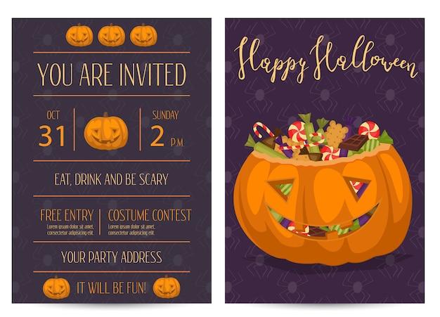 怖いカボチャのハロウィーンパーティーの招待状 Premiumベクター