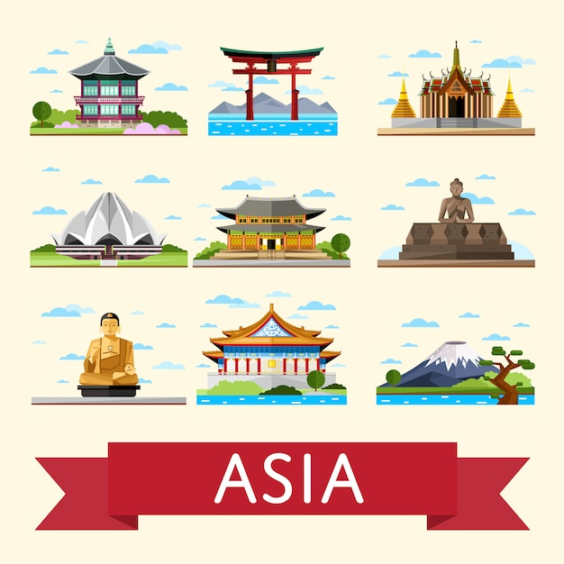 有名なアトラクションを備えたアジア旅行セット Premiumベクター