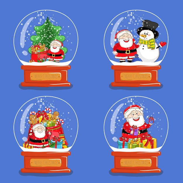 クリスマスグラススノーグローブのコレクション Premiumベクター