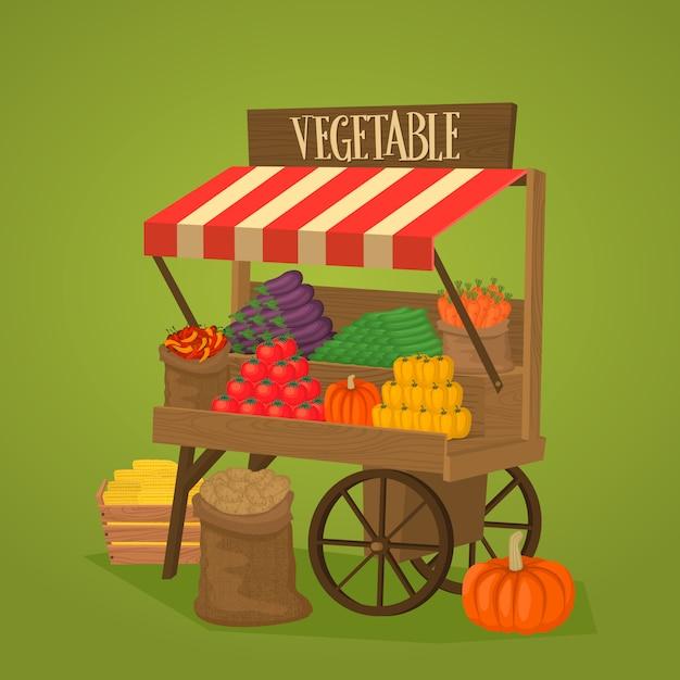 野菜や果物の車輪の上のストリートショップ Premiumベクター
