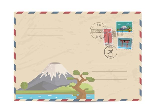 日本切手のビンテージ郵便封筒 Premiumベクター