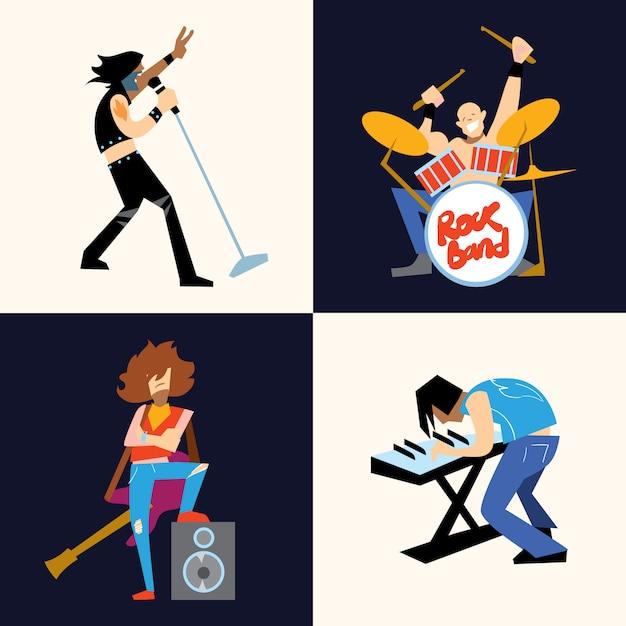 Рок-группа музыкальная группа векторная иллюстрация Premium векторы