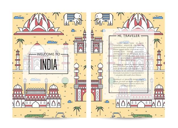 直線的なスタイルのインドのカードまたはチラシへようこそ Premiumベクター