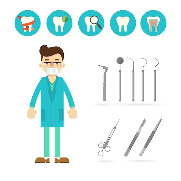 分離された歯科医の機器 Premiumベクター