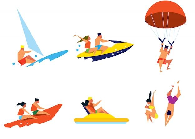 Счастливые люди веселятся на пляже Premium векторы
